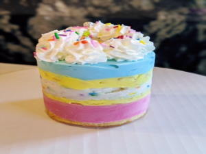 """3"""" Cake - 2 flavour layers with one layer as a crunch/fruit jelly/sponge layer"""